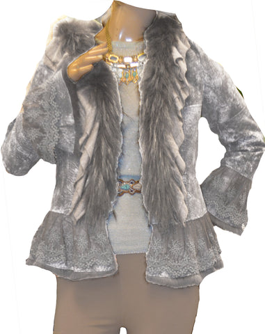 Double Face Reversible Fur Distressed Suede & Lace Coat