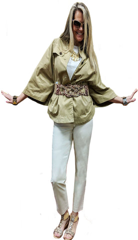 Cropped Canvas 3/4 Sleeves Cocoon Trench