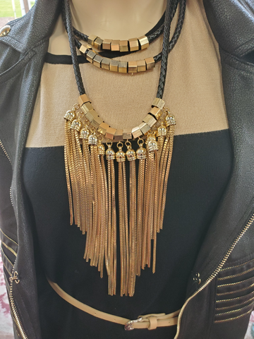 New Age Leather Roped 3-Tier Gold Fringe Necklace with Crystal Accent