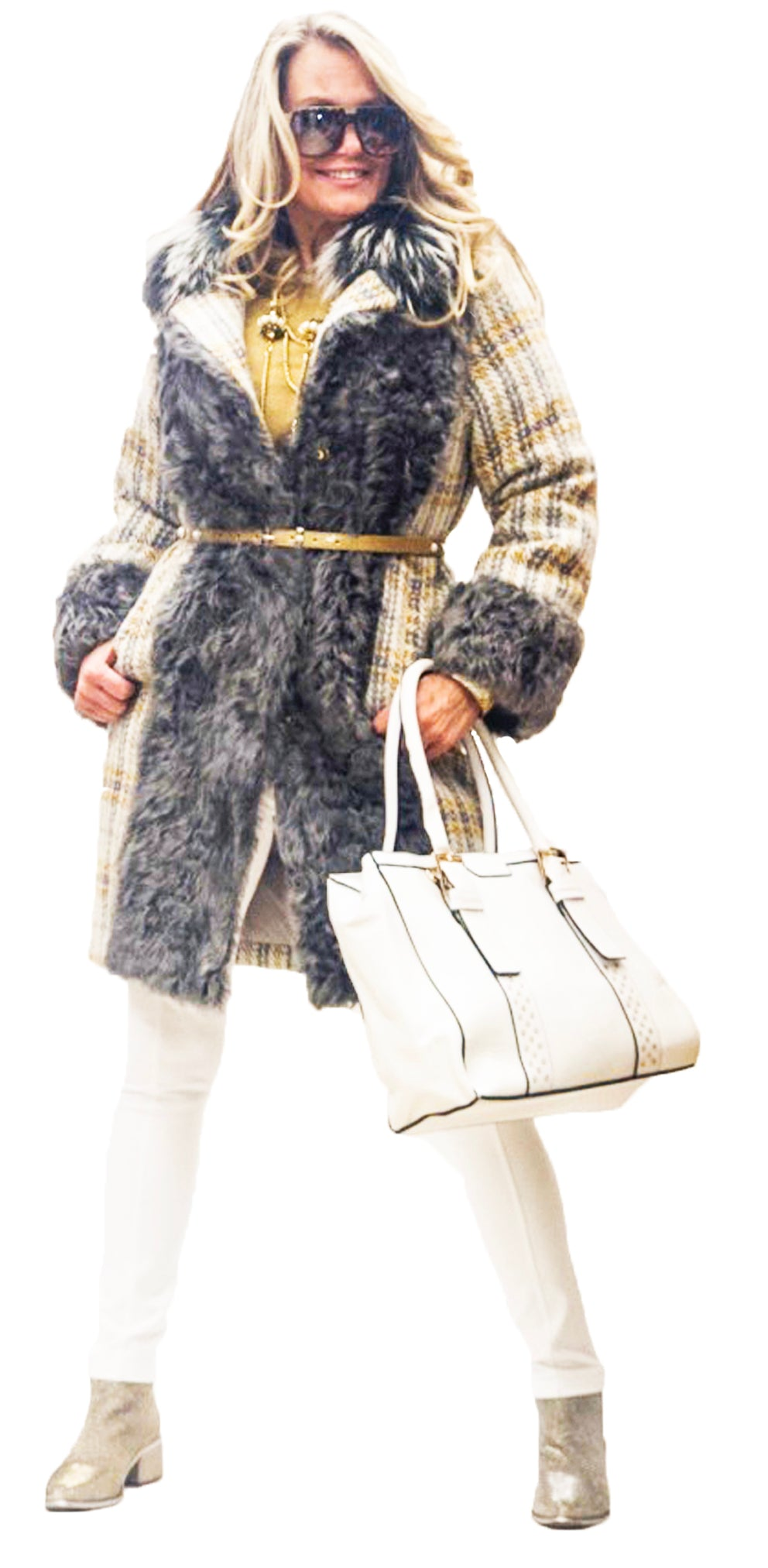 Yellow & Gray Wool Coat With Fur Trim