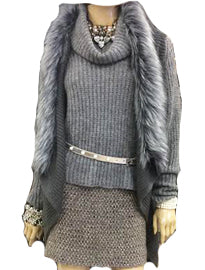 Grey Mohair Crop Cowel Neck
