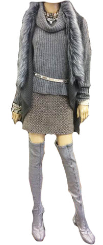Grey Lurex Tweed Skirt