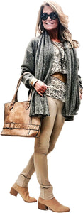 Lux and Cozy Heather' d Cashmere Touch Pleated Shawl Collar Cardigan