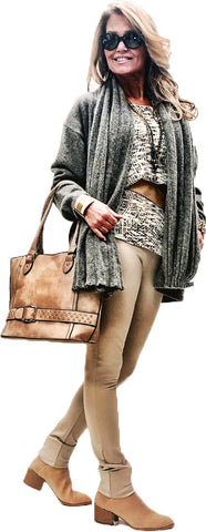 Taupe Vegan Leather Easy Tote Bag with Belted Buckle Detail