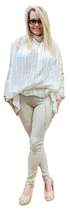 Pleated Chiffon White Metalicized Tunic Blouse