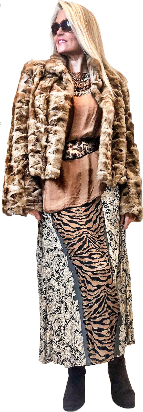 Mixed Media Animal Print Maxi Skirt