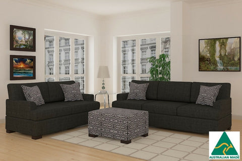 Bahama Sofa & Loveseat (Slate Black)