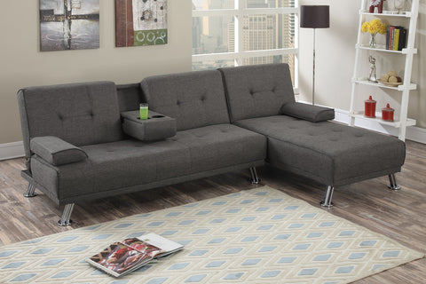 Manhattan Sofa Bed with Chaise (Ash)