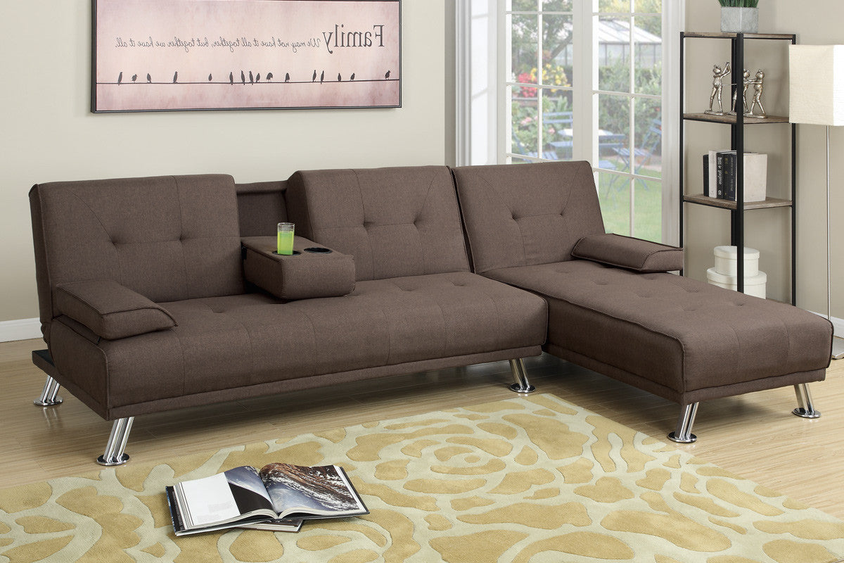 Manhattan sofa bed with chaise brown for Brown chaise sofa bed