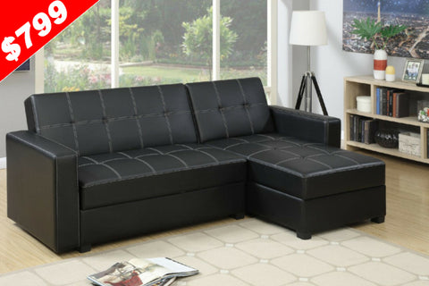 Sofa Bed | Fabric Lounge | Sorrento Sofa Bed Plus Storage (Black)