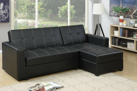 Sofa Bed | Fabric Lounge | Sorrento Sofa Bed Plus Storage ( Black )