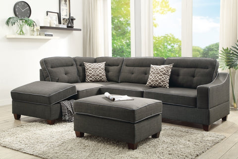 Fabric Lounge | Chaise Lounge | Arundel 3.5 Seater (Ash Black)