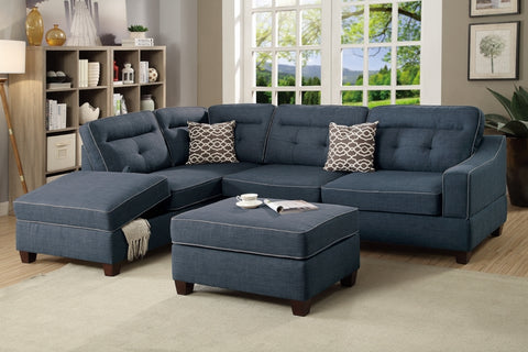 Fabric Lounge | Chaise Lounge | Arundel 3.5 Seater (Dark Blue)