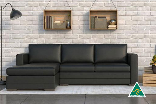 Black Lounge | Chaise Lounge  | Ella 3.5 Seater + Chaise Black