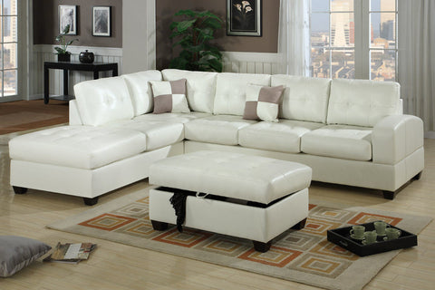 Kingston Sofa with Chaise (White)