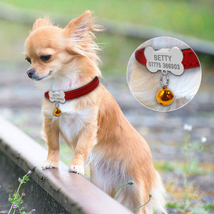 Small Dog Bone & Bell Personalized Collar - Urban Doggo