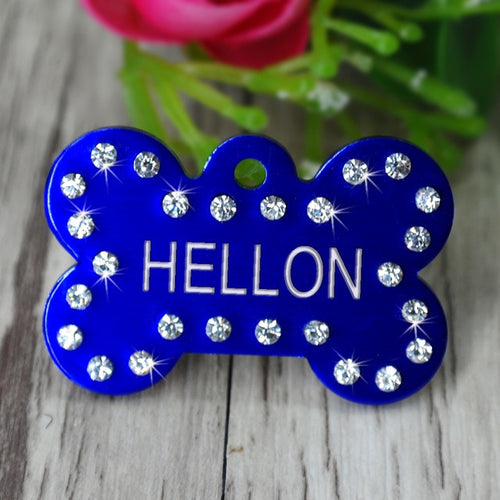 Personalized Dog Rhinestone Bone ID Tag - Urban Pets