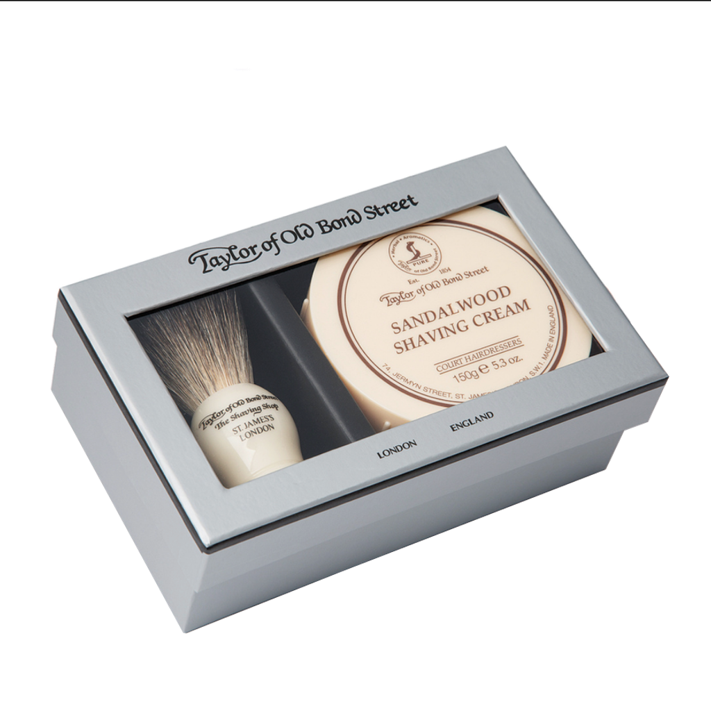Pure Badger & Sandalwood Shave Cream Gift Box - BUYBARBER.COM