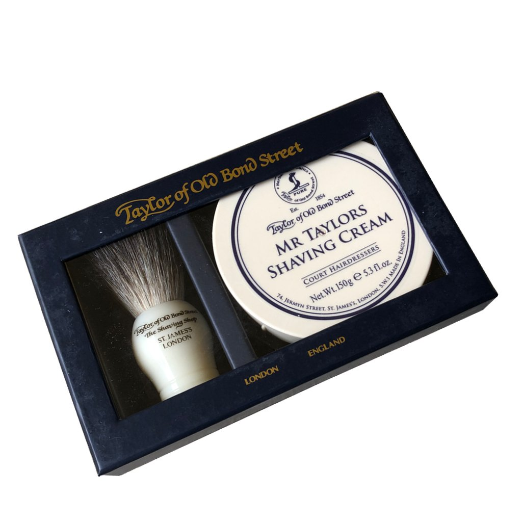 Pure Badger Brush & Mr Taylor Shaving Cream Bowl 150g - BUYBARBER.COM