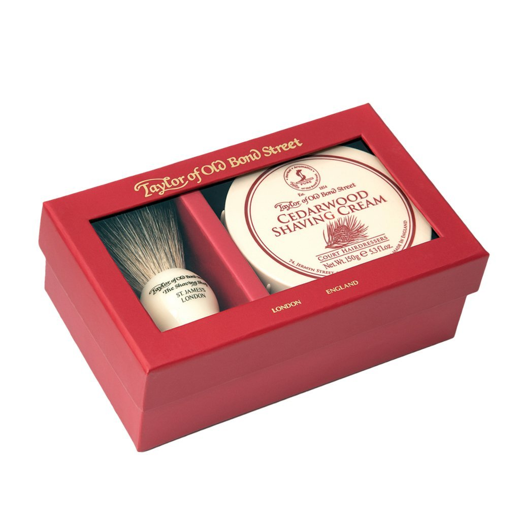 Pure Badger Brush & Cedarwood Shaving Cream Bowl 150g - BUYBARBER.COM
