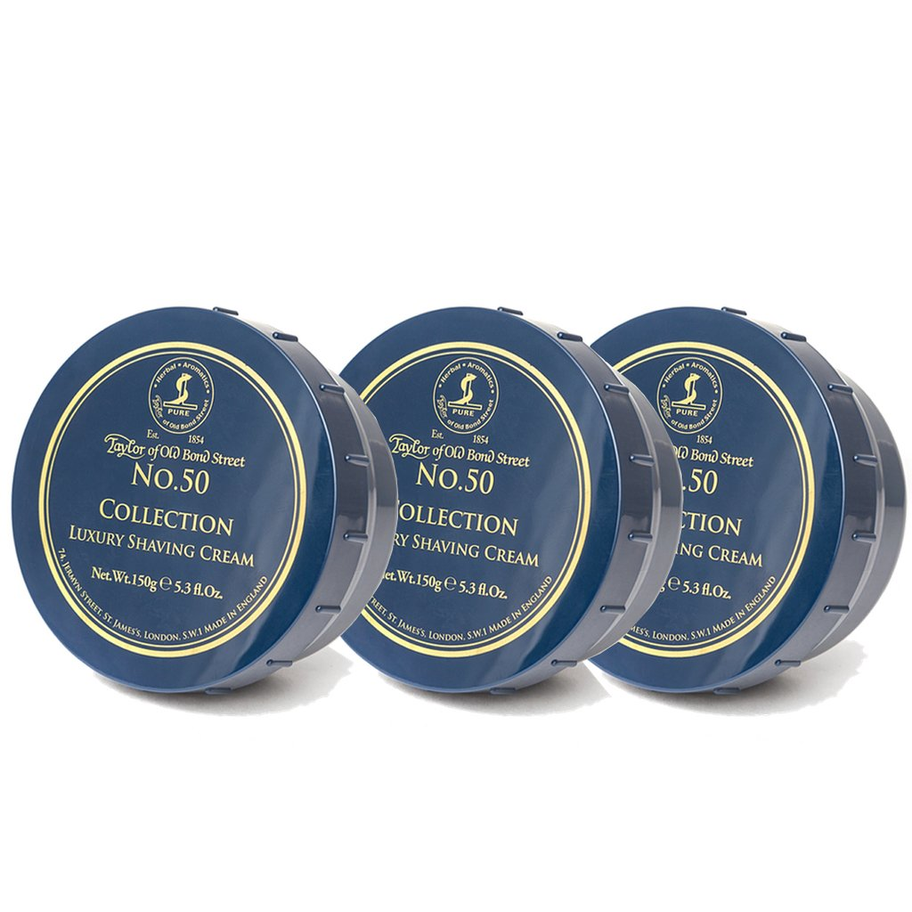 No. 50 Collection Shaving Cream Bowl 150g- 3Pack - BUYBARBER.COM