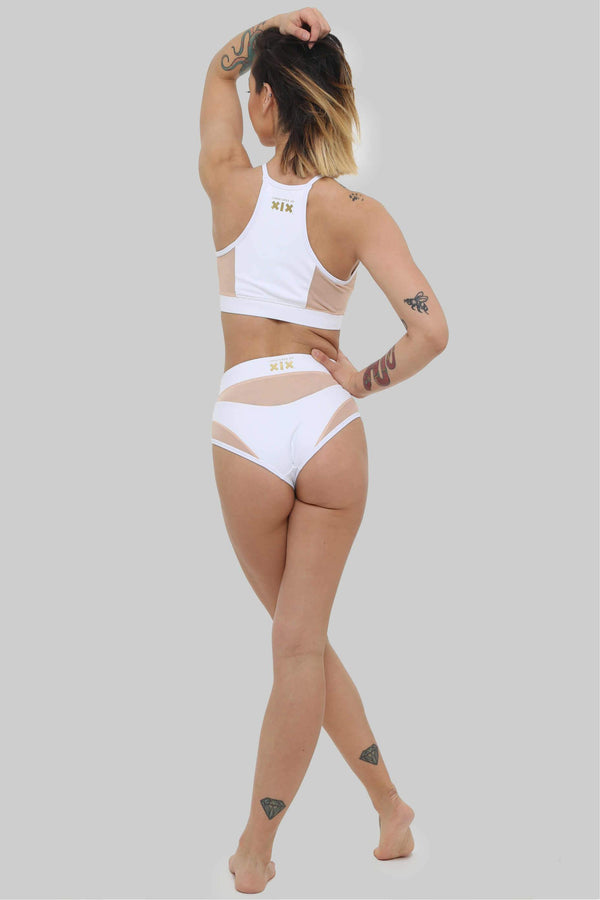 Goddess High Waisted Bottoms - White with Sand Mesh