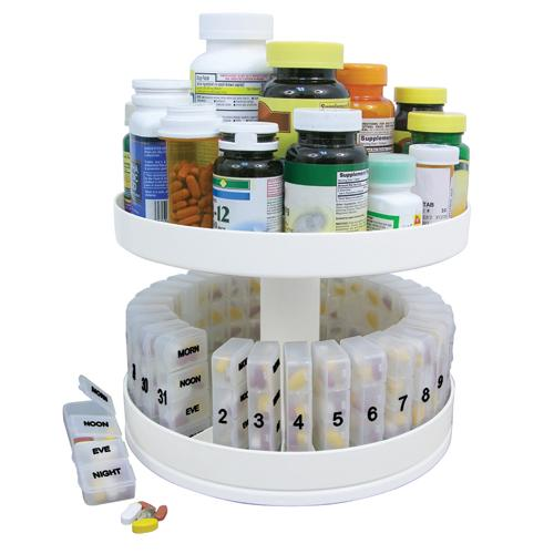 Revolving Medicine Center w/31Daily Pill Compartments