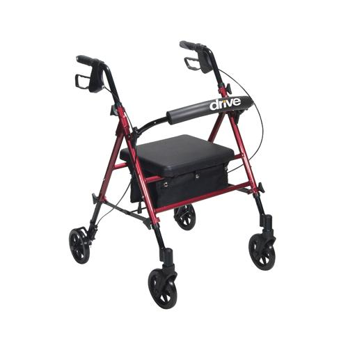 Rollator Aluminum w/Adj. Seat Height  Red