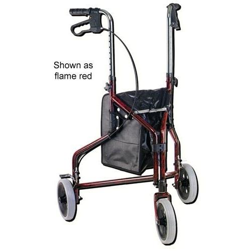 Rollator 3-Wheeled w/Pouch & Basket Loop Brake-Flame Blue