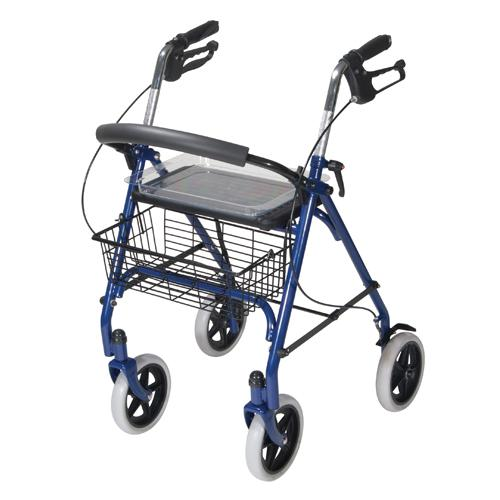 4 Wheel Steel Rollator w/8  Casters & Basket-Loop-Red