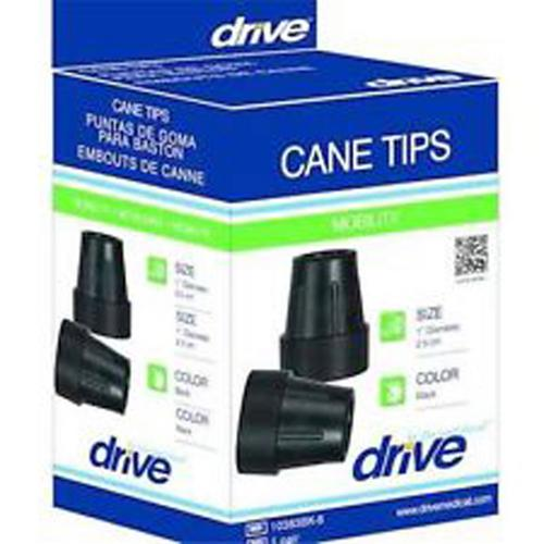 Cane Tips for 1  Cane Diameter Black (Pair)  Retail Box