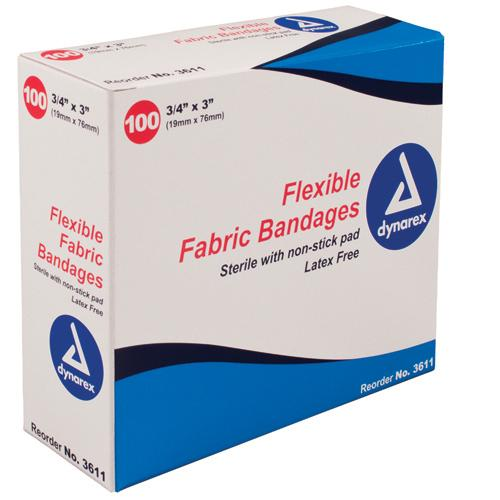 Flexible Fabric Adh Bandages Wing 3  x 3   Bx/50