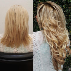 Blonde woman with long wavey hair extensions before and after