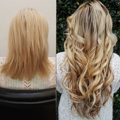 22 inch blonde hair extensions on woman before and after