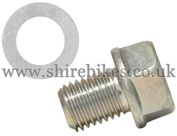 Honda Oil Drain Hole Bolt & Washer suitable for us with CZ100, Z50M, Z50A, Z50R, Z50J1, Z50J, Dax 6V, Chaly 6V, Dax 12V, C90E