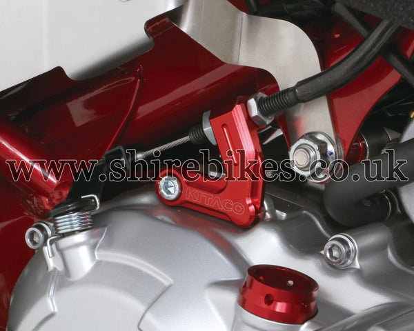 Kitaco Red Aluminium Clutch Cable Holder suitable for use with MSX125 GROM, Monkey 125