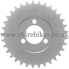 33T Rear Sprocket suitable for use with CZ100, Z50M, Z50A, Z50J1, Z50J, Z50R
