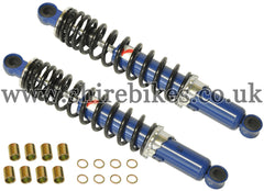 330mm Kitaco Blue & Black Hydraulic Shock Absorbers (Pair) suitable for use with Z50R, Z50J1, Z50J, Dax 6V, Dax 12V, Chaly 6V