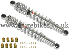 330mm Kitaco Chrome Hydraulic Shock Absorbers (Pair) suitable for use with Z50R, Z50J1, Z50J, Dax 6V, Dax 12V, Chaly 6V