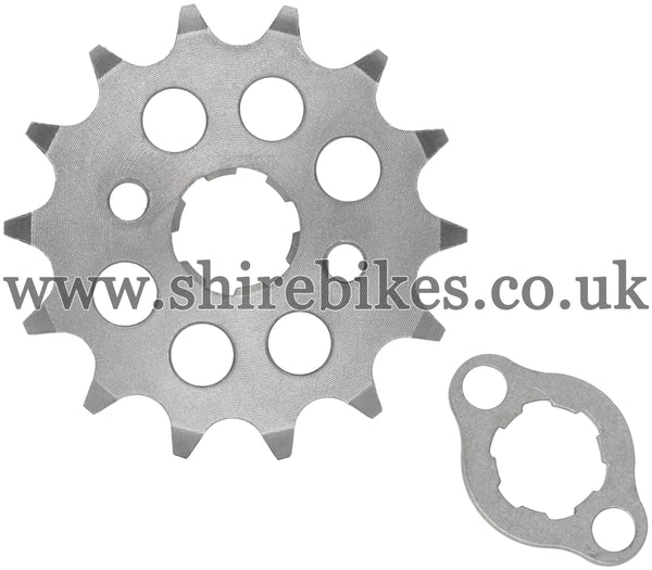 Kitaco 14T Front Sprocket & Retainer suitable for use with Z50A, Z50J1, Z50R, Z50J, Dax 6V, Chaly 6V, Dax 12V, C90E, MSX125 GROM, Monkey 125