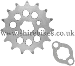 Kitaco 15T Front Sprocket & Retainer suitable for use with Z50A, Z50J1, Z50R, Z50J, Dax 6V, Chaly 6V, Dax 12V, C90E, MSX125 GROM, Monkey 125