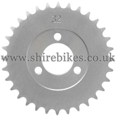 32T Rear Sprocket suitable for use with CZ100, Z50M, Z50A, Z50J1, Z50J, Z50R & Chinese Copies