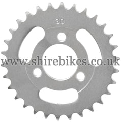 30T Rear Sprocket suitable for use with CZ100, Z50M, Z50A, Z50J1, Z50J, Z50R & Chinese Copies