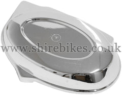 Reproduction *Imperfect* Chrome Side Cover suitable for use with Z50J Monkey Bike & Chinese Copies