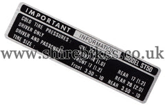 Reproduction ST50 Tyre Pressure Sticker suitable for use with Dax 6V