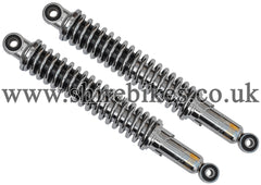 340mm Adjustable Chrome Shock Absorbers (Pair) suitable for use with Dax 6V, Chaly 6V, Dax 12V
