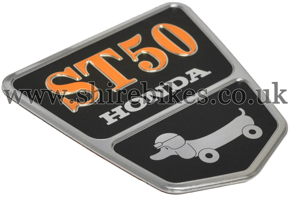 Honda Dachshund Frame Shield Metal Badge ST50 suitable for use with Dax 12V