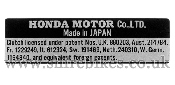 Honda Clutch Patent Sticker Emblem suitable for use with Z50M, Z50A, Dax 6V, Chaly 6V