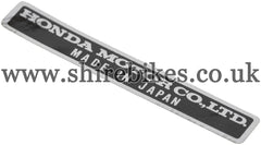 Honda Made in Japan Sticker suitable for use with Z50A, Z50J1