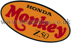 Honda Chrome, Orange & Red Side Cover Sticker suitable for use with Monkey Bike Motorcycles